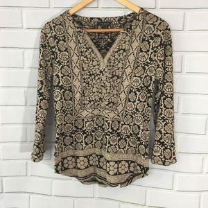 Lucky Brand LS black & Tan print shirt SZ S